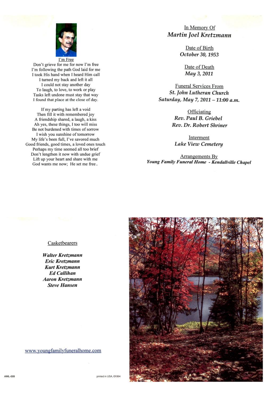 Acgsi funeral card collection kendallville rev paul b griebel rev dr robert shriner izmirmasajfo Image collections