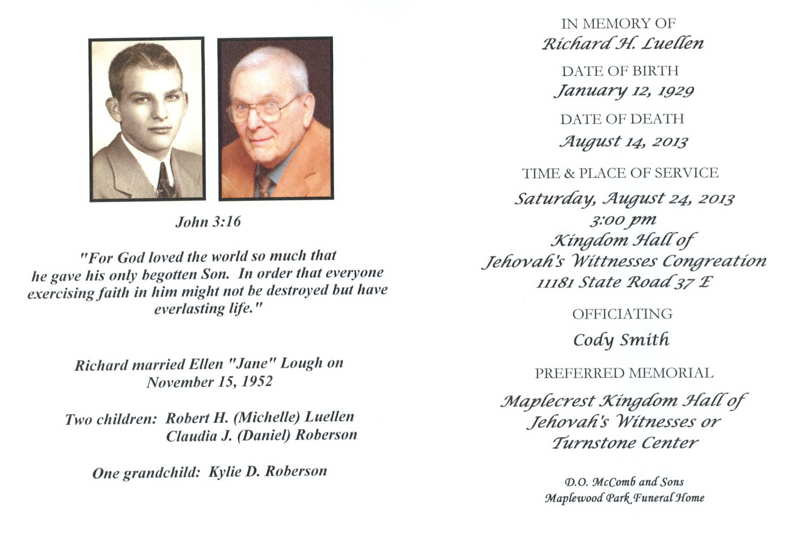 Acgsi funeral card collection cody smith kingdom hall of jehovahs witnesses izmirmasajfo Gallery