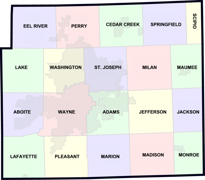 Township Map Of Allen County Indiana On Allen Ingenweb Project