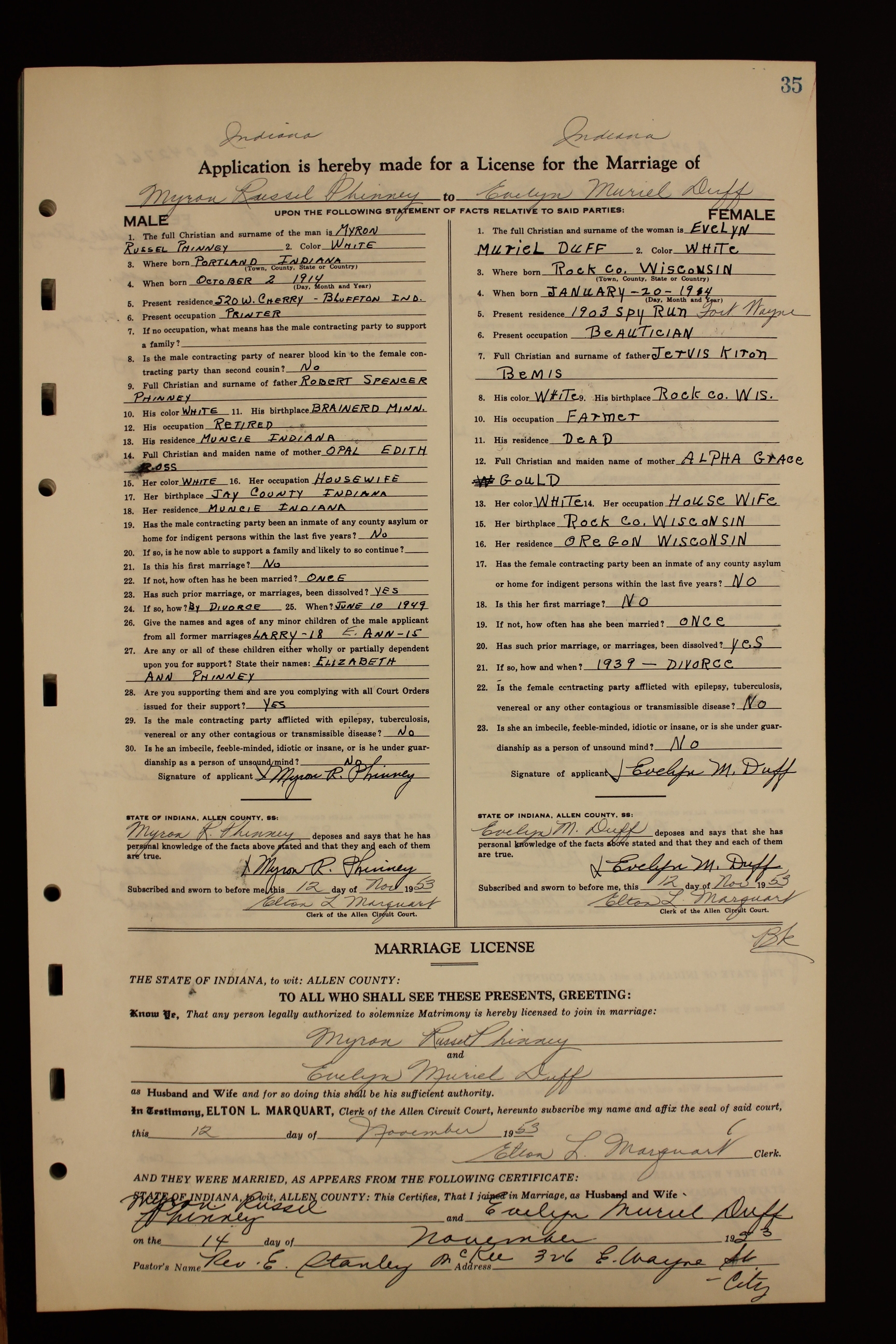 kirk m wanless marriage records