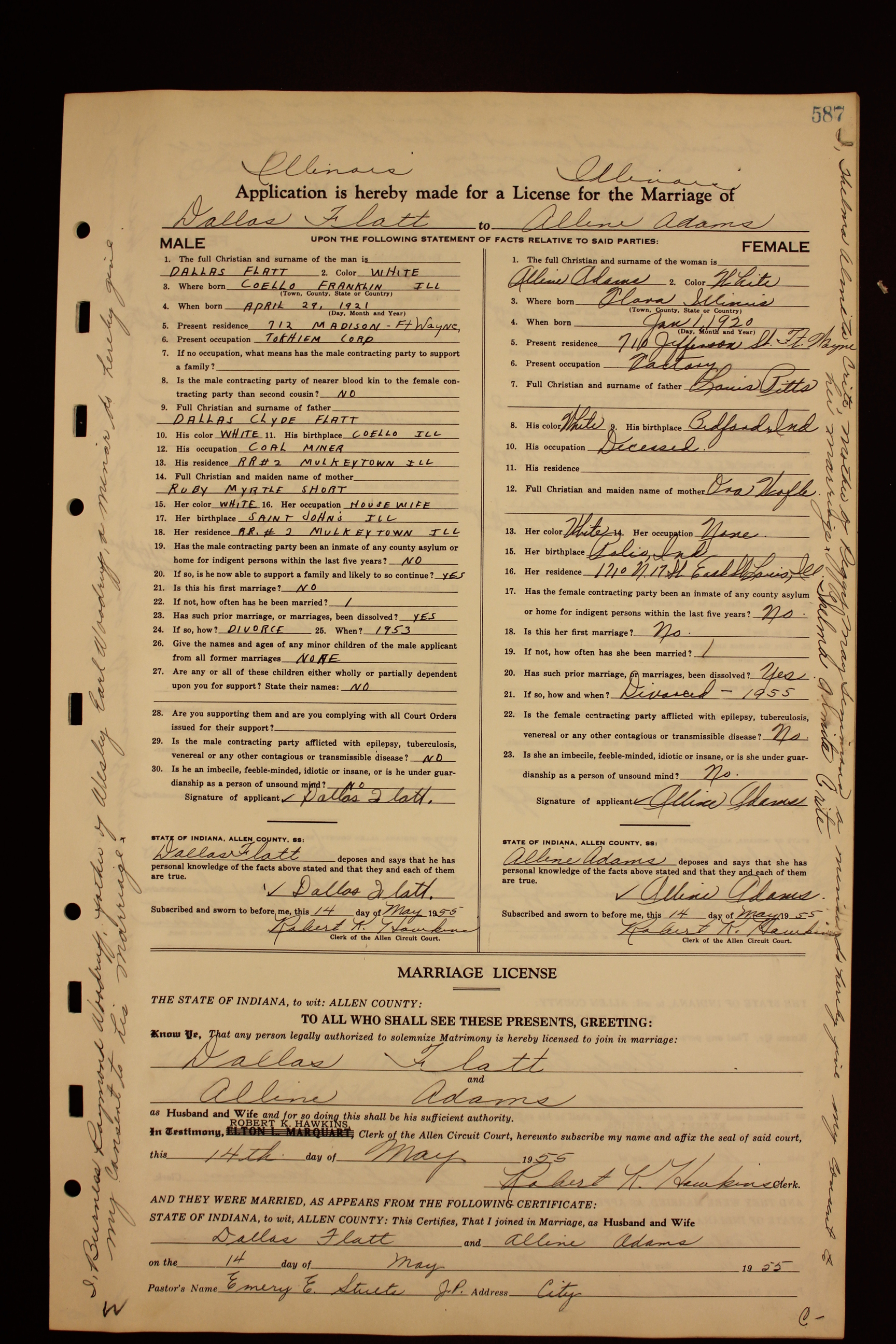 Stevens Ford 112 >> ACGSI - Allen County Marriages